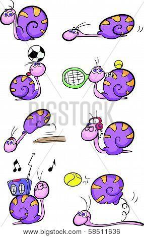 cute purple snail set