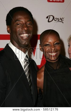 HOLLYWOOD - AUGUST 27: Isaiah Washington and wife Jenisa at the TV Guide Emmy After Party at Social August 27, 2006 in Hollywood, CA.