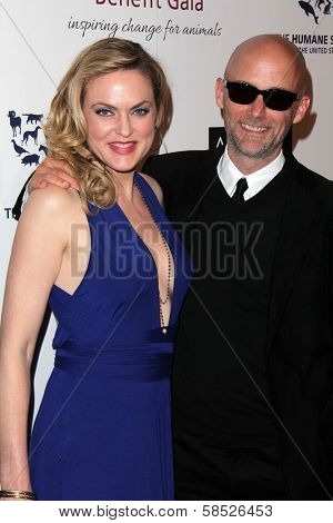 Elaine Hendrix, Moby at the 2013 Genesis Awards Benefit Gala, Beverly Hilton, Beverly Hills, CA 03-23-13