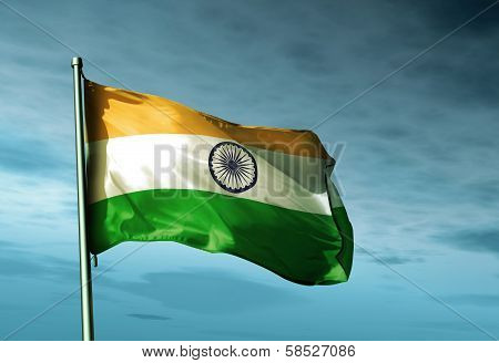 India flag waving on the wind
