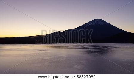 Mountain Fuji in autumn season at sunrise time from Motosu lake poster