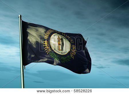 Kentucky (USA) flag waving on the wind