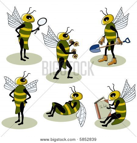 Set of vector bees