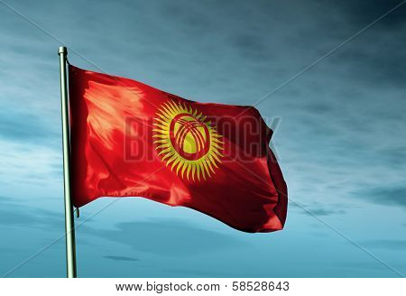Kyrgyzstan flag waving on the wind