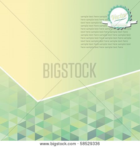 Green geometric background with triangles