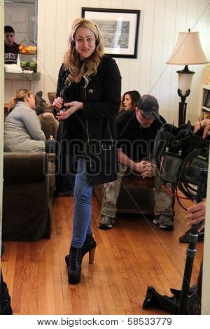 Jennifer Blanc-Biehn on the set of