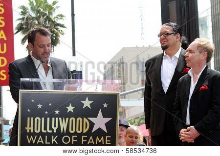 Trey Parker, Penn Jillette, Teller at Penn & Teller's induction into the Hollywood Walk Of Fame, Hollywood, CA 04-05-13
