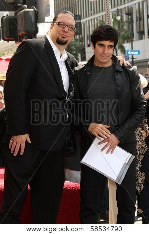 Penn Jillette, David Copperfield at Penn & Teller's induction into the Hollywood Walk Of Fame, Hollywood, CA 04-05-13