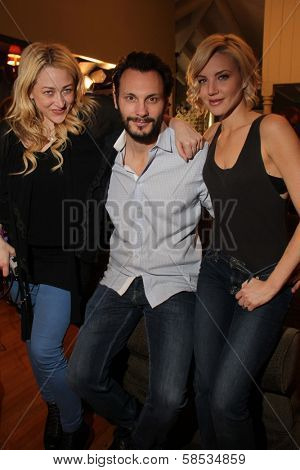 Jennifer Blanc-Biehn, Mark Gantt, Brianne Davis on the set of