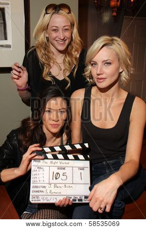 Vedette Lim, Jennifer Blanc-Biehn, Brianne Davis on the set of