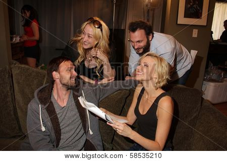 Gary Cairns, Jennifer Blanc-Biehn, Mark Gantt, Brianne Davis on the set of