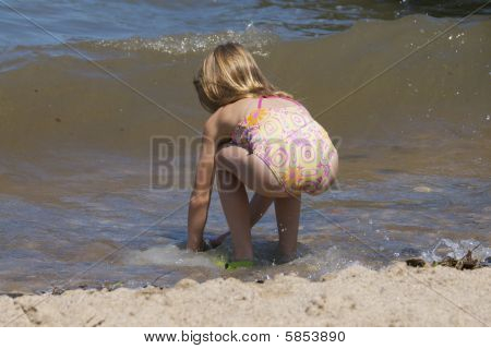 Blonde Girl At Beach