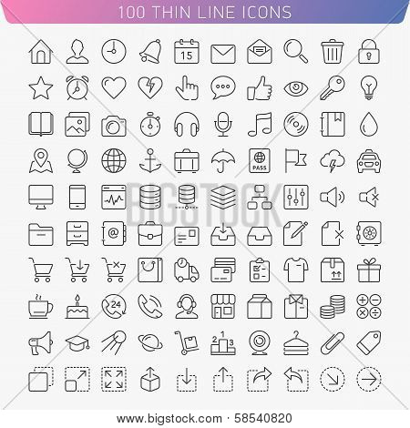 Thin line icons.