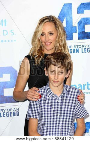 Kim Raver and son at the