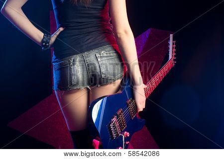 Rock Star Girl With Guitar