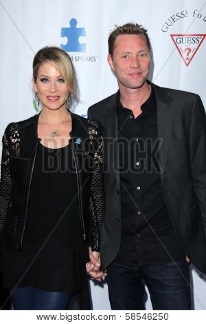 Christina Applegate, Martyn LeNoble at the Light Up The Blues Concert Benefiting Autism Speaks, Club Nokia, Los Angeles, CA 04-13-13
