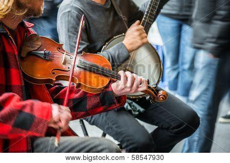 Street Musicians Banjo Fiddle