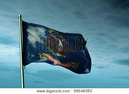 North Dakota (USA) flag waving on the wind