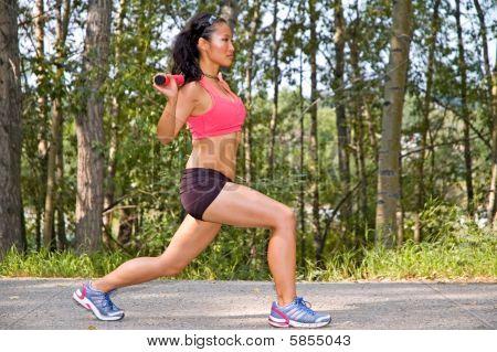 Weight Bar Lunge