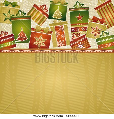 christmas background with gifts, vector illustration