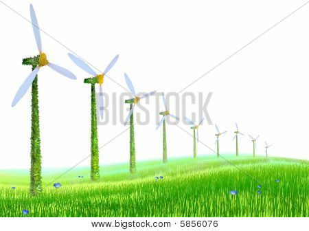 Ecological Windmills On A Meadow