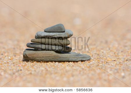 Pebble Stack On The Beach