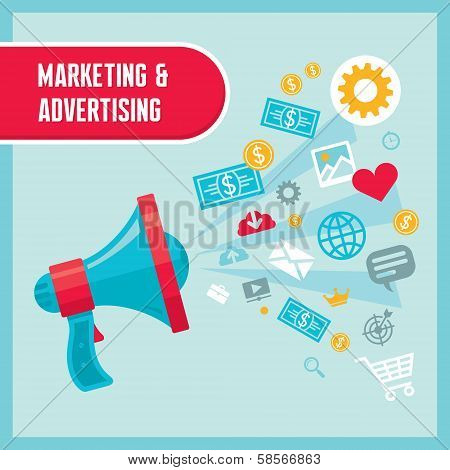 Marketing & Advertising - Loudspeaker Concept Vector Illustration