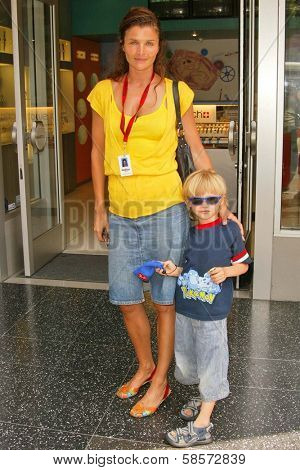 Helena Christensen and her son at the Bullrun Rally 2004 in  Hollywood, California. 06-05-04