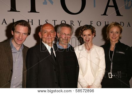 Ralph Fiennes, Sir Ben Kingsley, Steven Spielberg, Embeth Davidtz and Caroline Goodall at the Legacy of