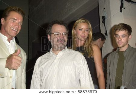 Arnold Schwarzenegger, Director Jonathan Mostow, Kristanna Loken and Nick Stahl at the Los Angeles Comic Book and Science Fiction Convention in Shrine Auditorium, Los Angeles, CA 06-08-03