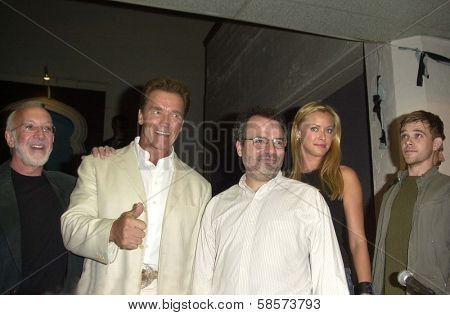 Stan Winston, Arnold Schwarzenegger, Director Jonathan Mostow, Kristanna Loken and Nick Stahl at the Comic Book and Science Fiction Convention in Shrine Auditorium, Los Angeles, CA 06-08-03