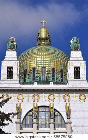 Otto Wagner Church in Vienna, Austria on a sunny day poster
