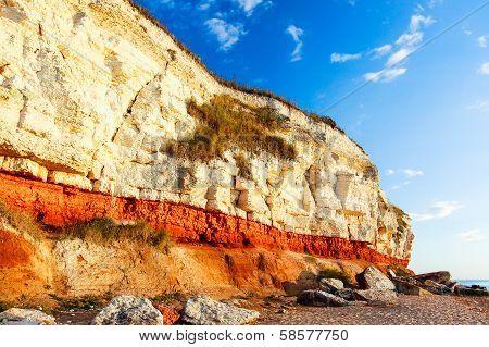 Red & White Chalk Cliff At Beach In Old Hunstanton, Norfolk, England