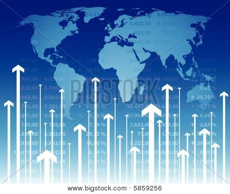 illustration of world wide stock quotes at the stock market poster