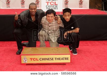 Chris Tucker, Jackie Chan, Jaden Smith at the Jackie Chan Hand and Foot Print Ceremony, TCL Chinese Theater, Hollywood, CA 06-06-13