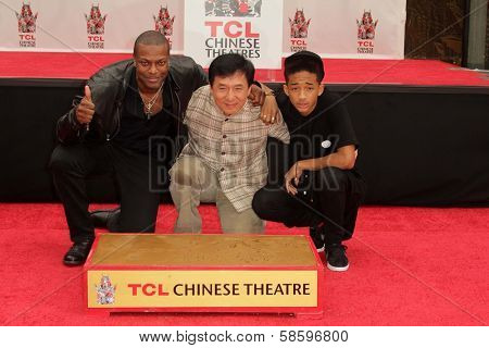 Chris Tucker, Jackie Chan and Jaden Smith at the Jackie Chan Hand and Foot Print Ceremony, TCL Chinese Theater, Hollywood, CA 06-06-13