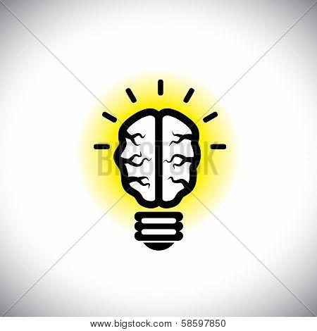 Vector Icon Of Creative, Inventive Brain As Idea Light Bulb