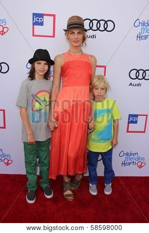 Angela Lindvall with her children at the 1st Annual Children Mending Hearts Style Sunday, Private Location, Beverly Hills, CA 06-09-13