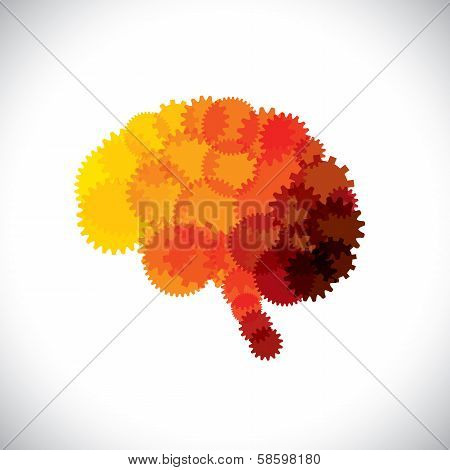 concept vector icon of abstract brain or mind with cogwheels. This orange yellow red brain graphic represents human brain efficient functioning machinery made of gears & producing solutions & ideas poster