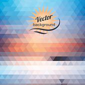 Abstract geometric background of the triangles  Bright colors  The illusion of solar landscape  Place your own text on top of the image poster