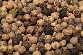 Macro photography of dry white and blackpepper grains poster
