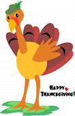 Here is a gentle Turkey sending a Happy Thanksgiving greeting. poster