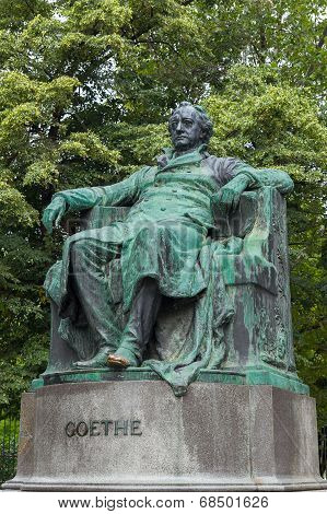Goethe Monument In Vienna In Autumn Day