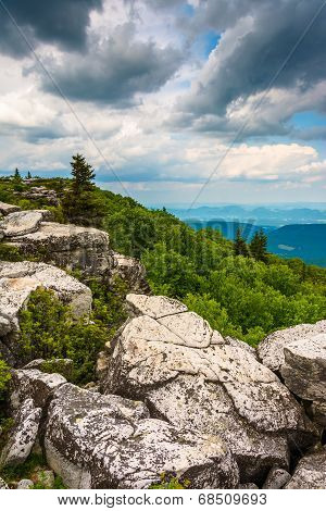 Boulders And Eastern View Of The Appalachian Mountains From Bear Rocks Preserve, Monongahela Nationa