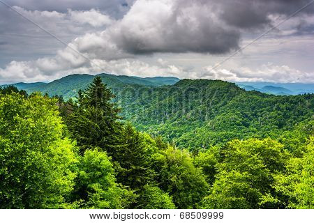 Dramatic View Of The Appalachian Mountains From Newfound Gap Road, At Great Smoky Mountains National