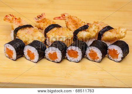 Sushi Roll Set With Ebi Tempura Shrimp On Wooden Background