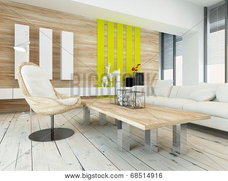 Rustic wood veneer finish living room interior with natural wood coffee table and wall panels and white painted wooden floorboards, yellow accents and large view windows
