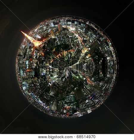 Aerial 360 degree view of Tokyo, Japan at night with illuminated buildings , landmarks and skyscrypers and traffic light trails on the streets on a mini planet floating in a dark sky
