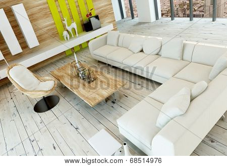 High angle view of a rustic living room interior with white painted wooden floorboards, wood paneled wall and a long corner white upholstered couch or settee