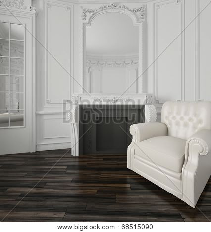 Classic white living room interior with a large overmantel mirror over a fireplace, wood wall paneling, interior door and white upholstered armchair on a parquet floor